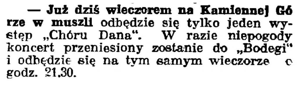"""[Już dziś wieczorem na Kamiennej Górze w muszli odbędzie się tylko jeden występ """"Chóru Dana""""] // Gazeta Gdańska. - 1937, nr 150, s. 10"""