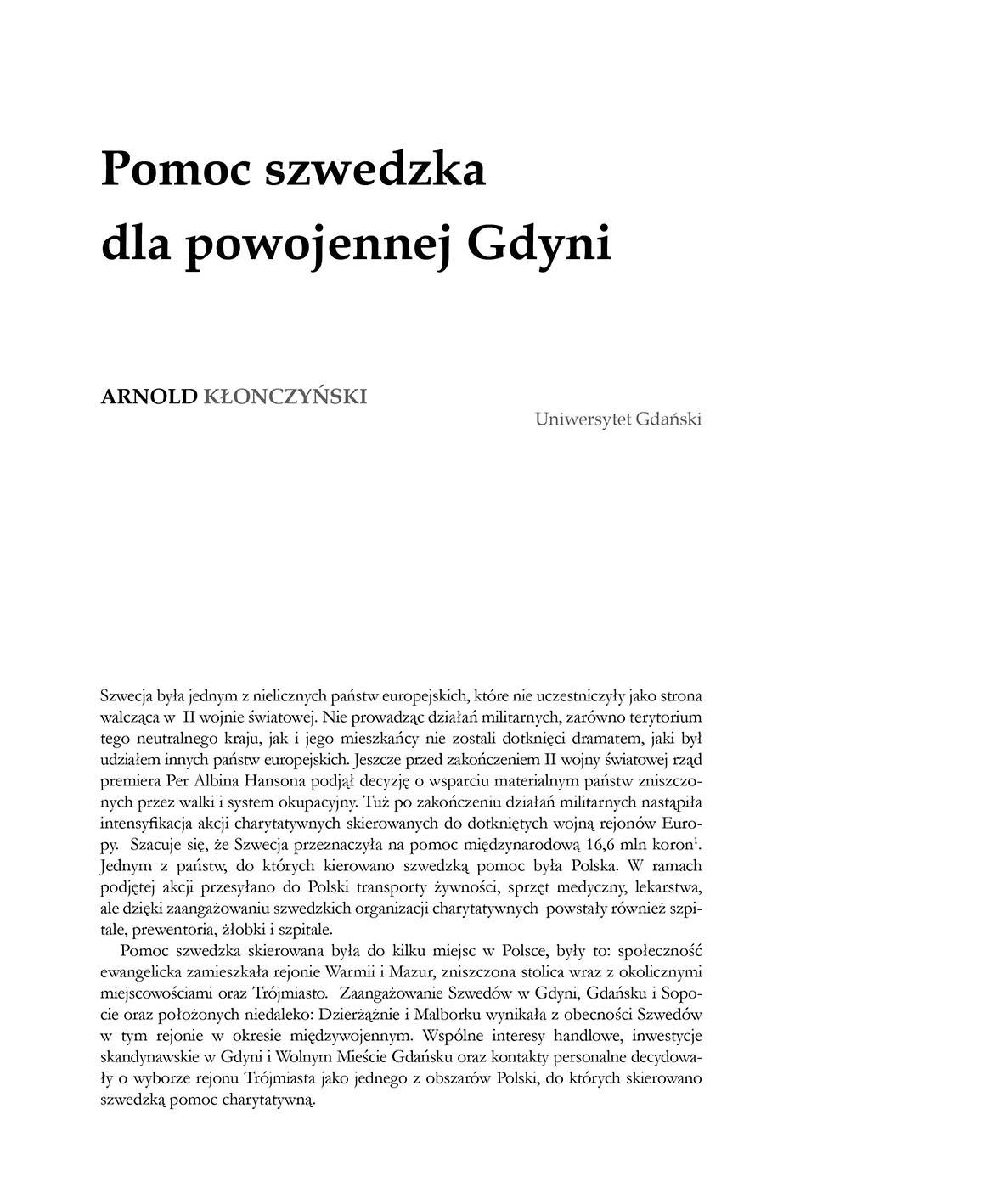 Pomoc szwedzka dla powojennej Gdyni