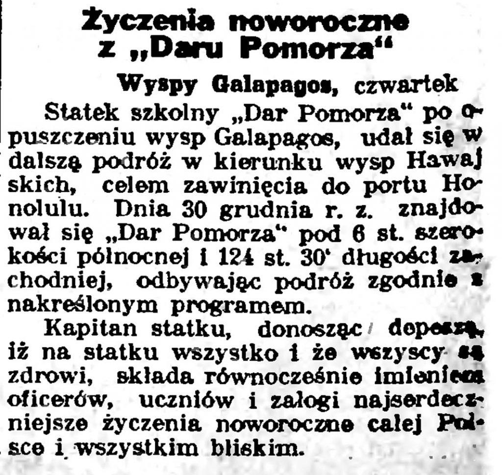 """Życzenia noworoczne z """"Daru Pomorza"""" // Słowo Pomorskie.- 1935, nr 3, s. 8"""