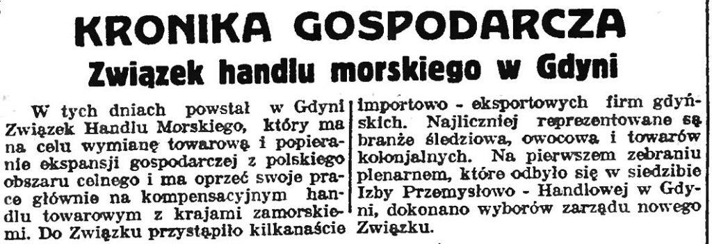 Związek handlu morskiego w Gdyni // Słowo Pomorskie.- 1935, nr 7, s. 5