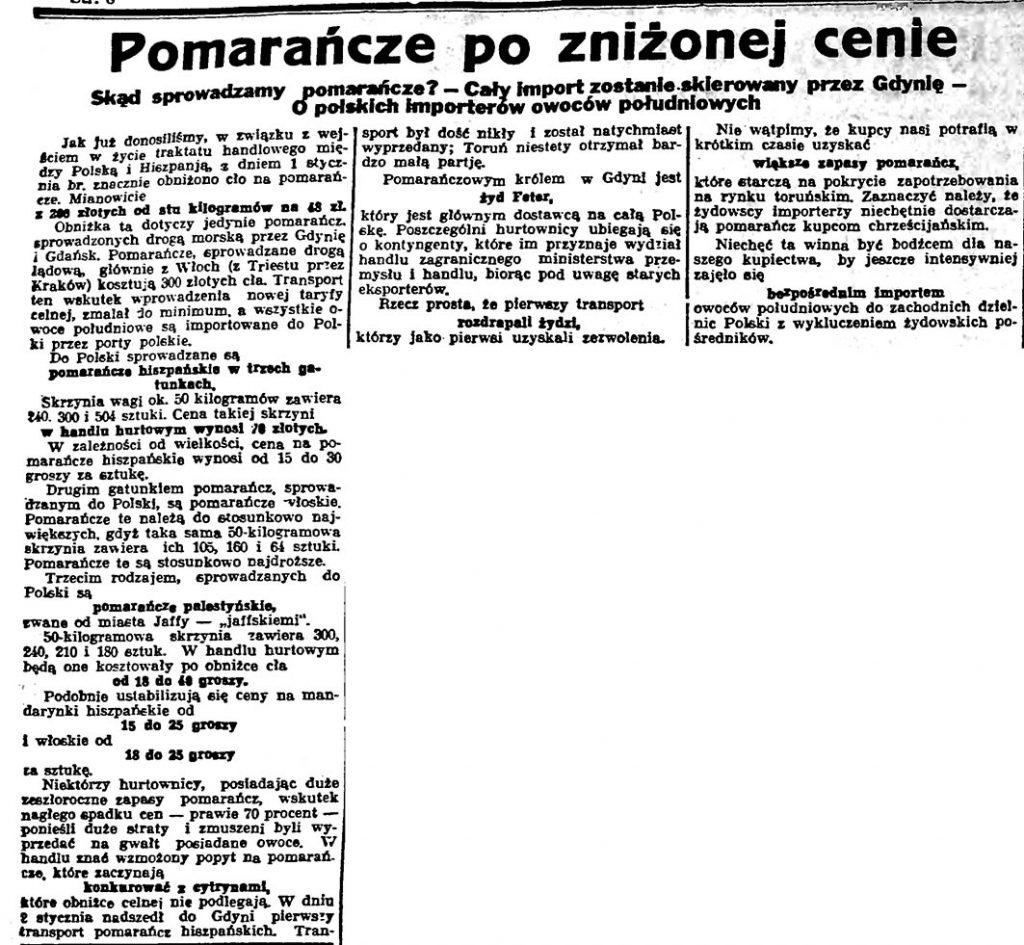 Pomarańcze po zniżonej cenie. Skąd sprowadzamy pomarańcze? - Cały import zostanie skierowany przez Gdynię - O polskich importerów[ach] owoców południowych // Słowo Pomorskie. - 1935, nr 8, s. 8