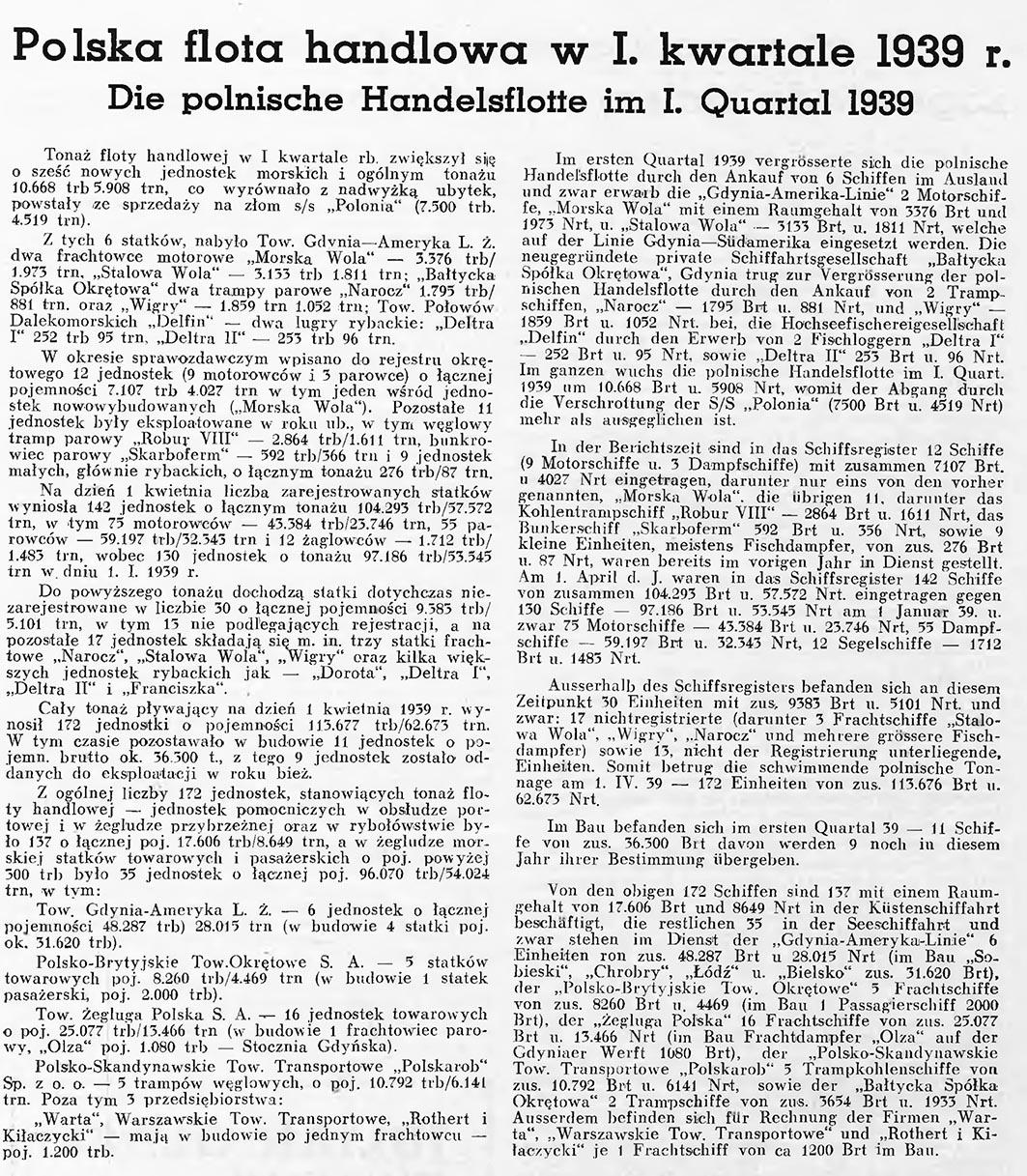 Polska flota handlowa w I. kwartale 1939 r. // Wiadomości Portowe. - 1939, nr 4, s. 10