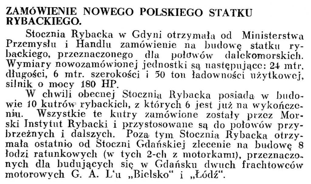 Zamówienie nowego polskiego statku rybackiego // Wiadomości Portowe. - 1939, nr 3, s. 15
