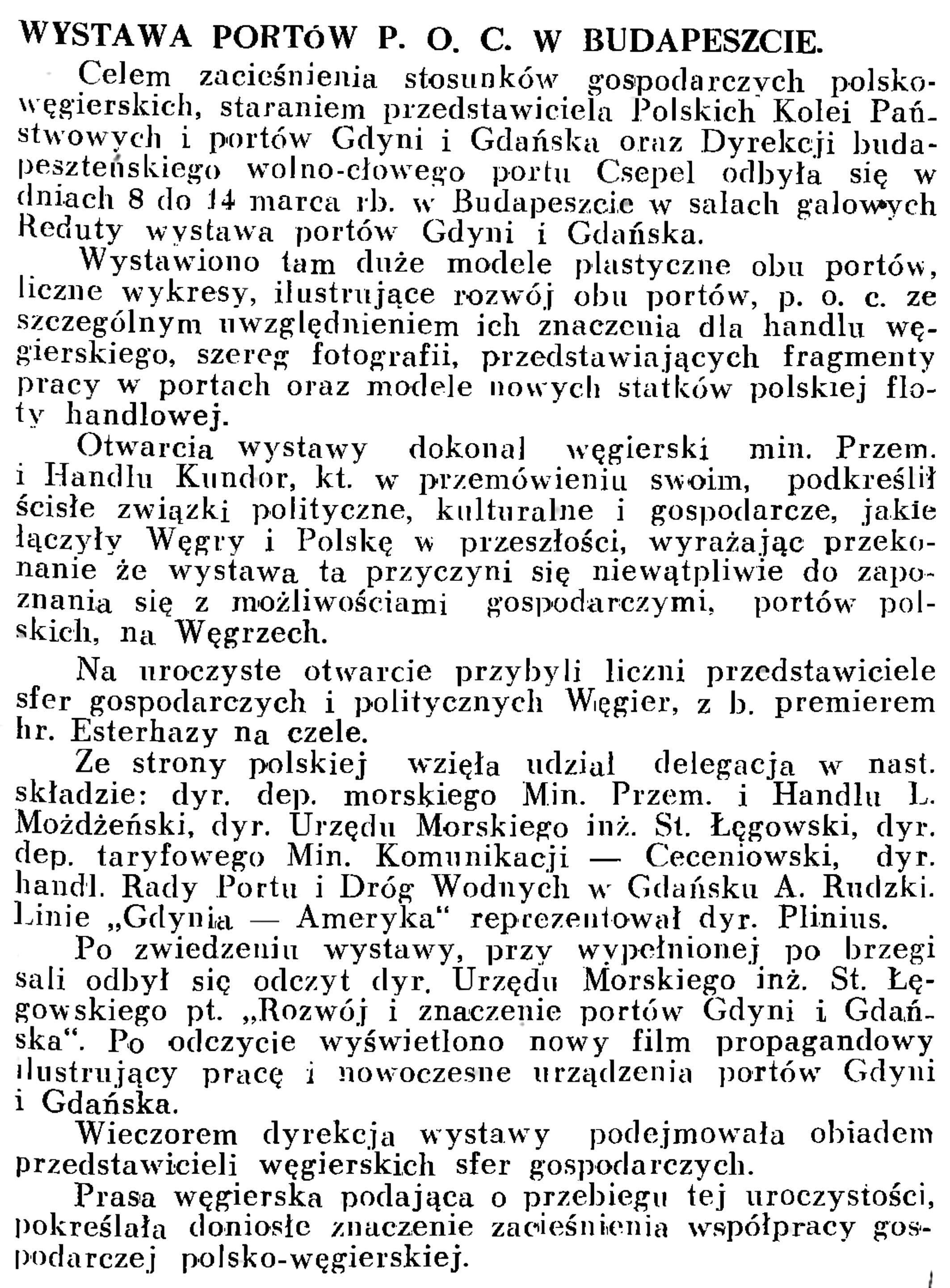 Wystawa portów P. O. C. w Budapeszcie // Wiadomości Portowe. - 1939, nr 3, s. 15