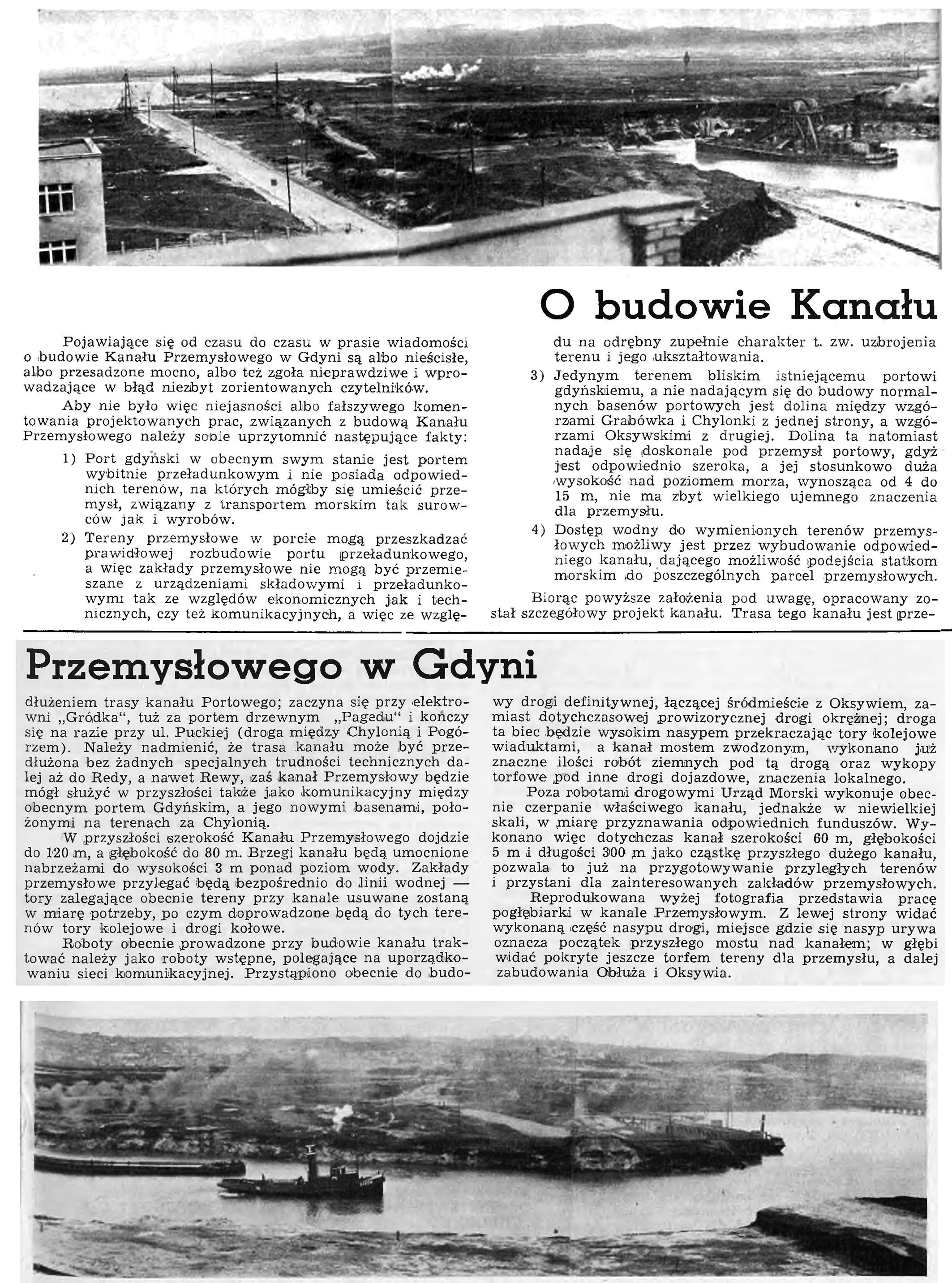 O budowie Kanału Przemysłowego w Gdyni // Wiadomości Portowe. - 1939, nr 3, s. 16-17. - Il.
