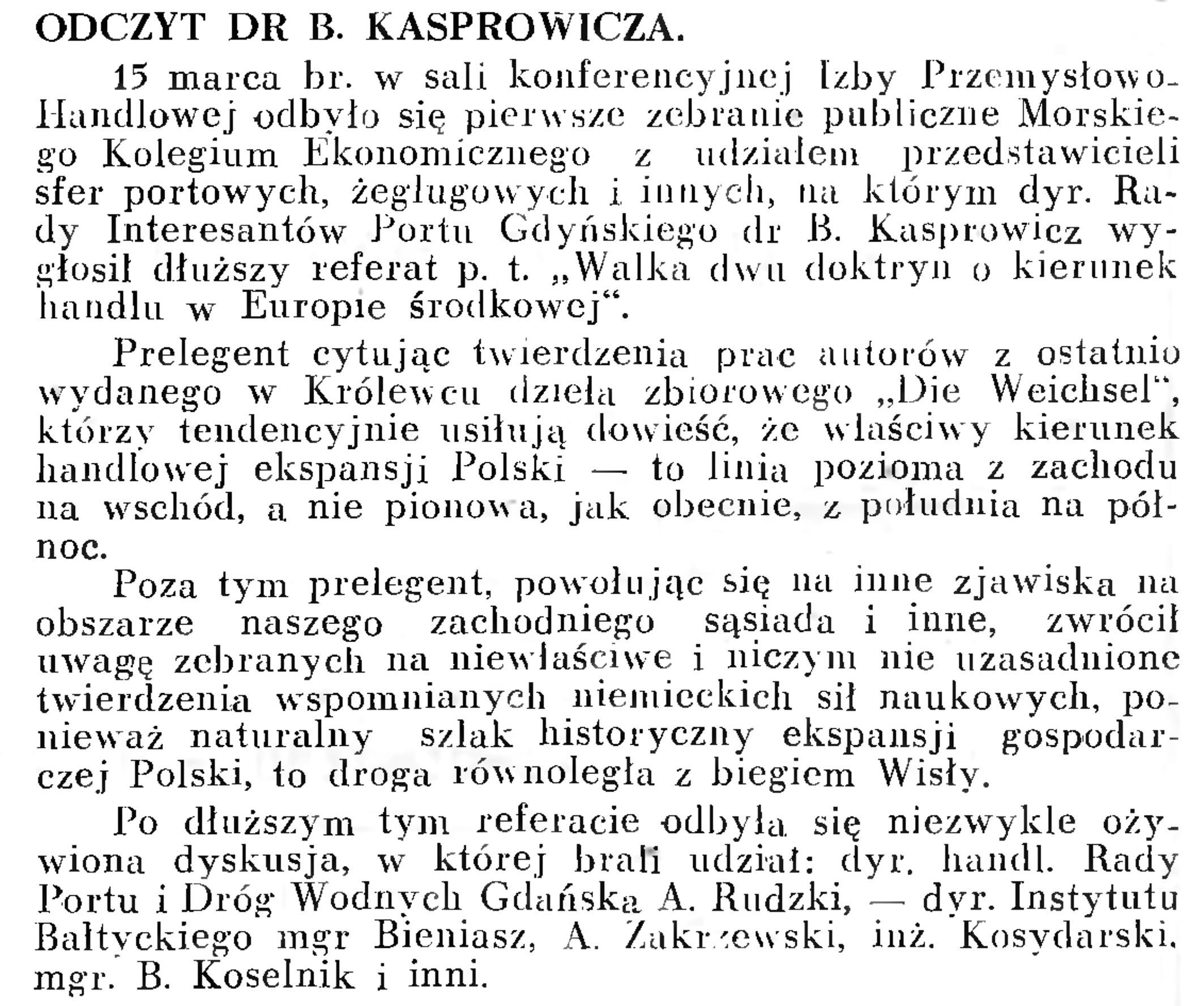 Odczyt dr B. Kasprowicza // Wiadomości Portowe. - 1939, nr 3, s. 16