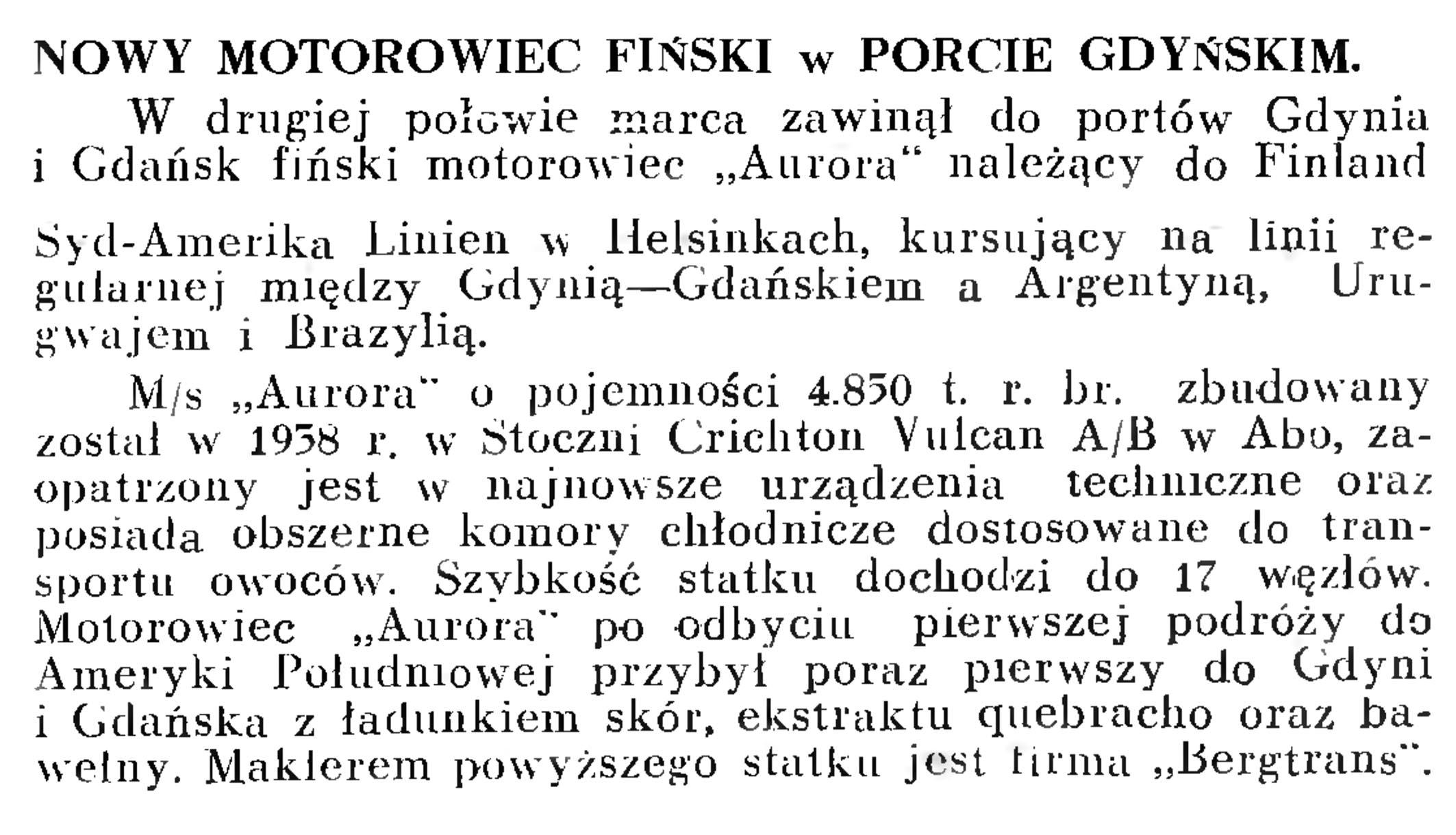 Nowy motorowiec fiński w porcie gdyńskim // Wiadomości Portowe. - 1939, nr 3, s. 116