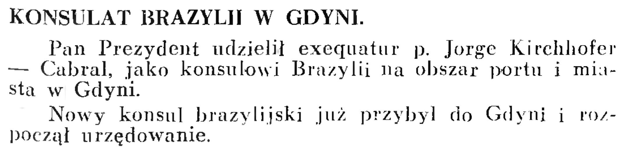 Konsulat Brazylji w Gdyni // Wiadomości Portowe. - 1939, nr 3, s. 17