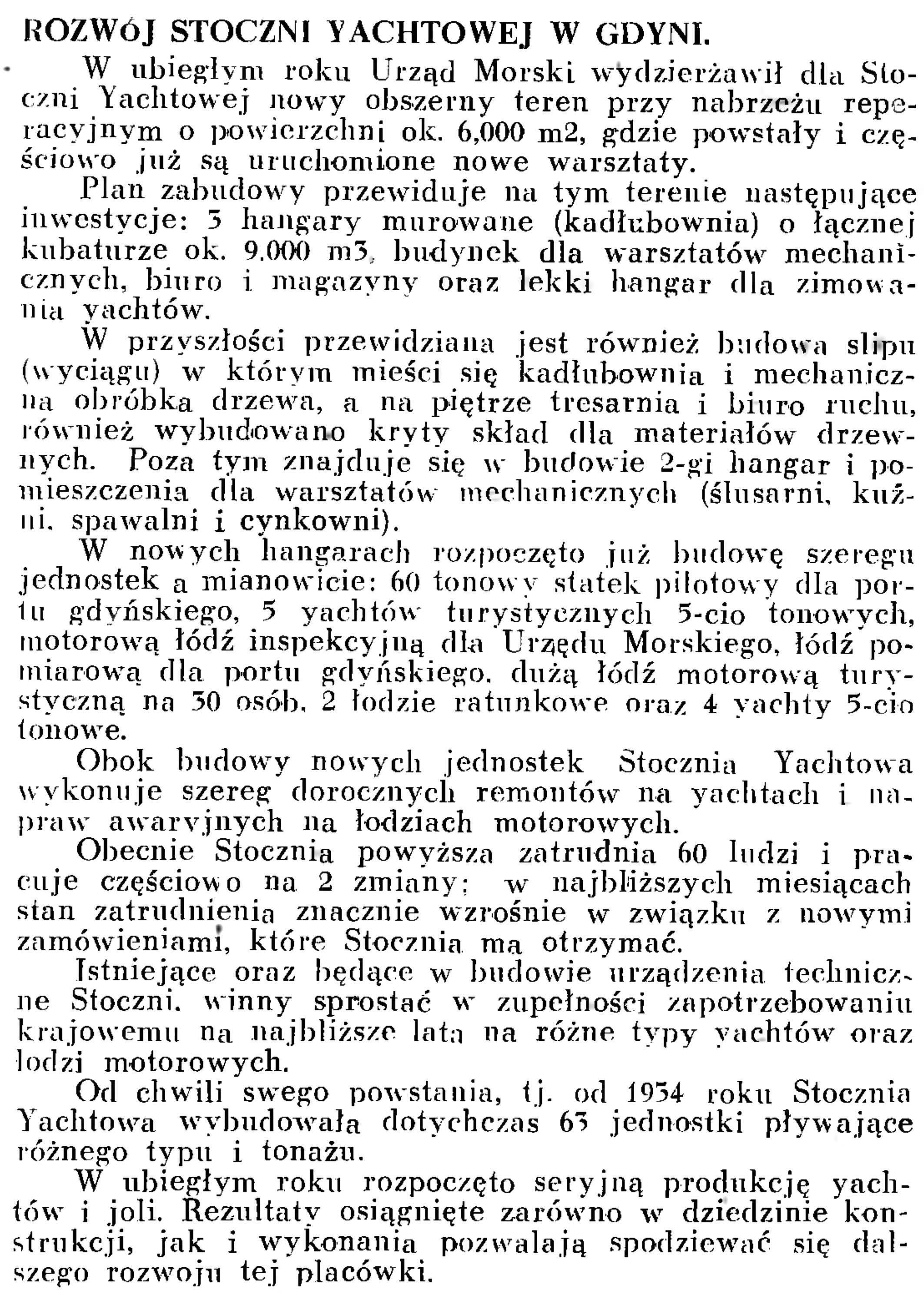 Rozwój stoczni Yachtowej w Gdyni // Wiadomości Portowe. - 1939, nr 3, s. 18