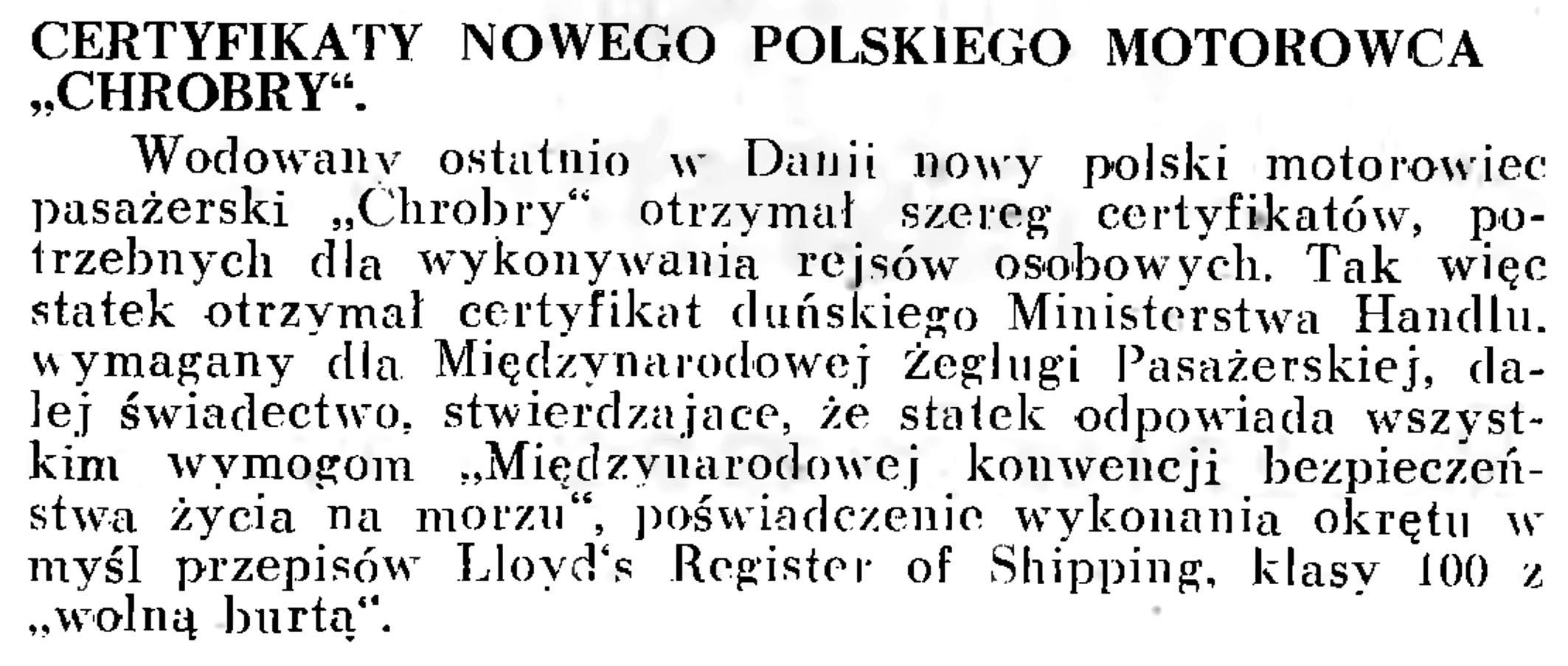 """Certyfikaty nowego polskiego motorowca """"Chrobry"""" // Wiadomości Portowe. - 1939, nr 3, s. 18"""