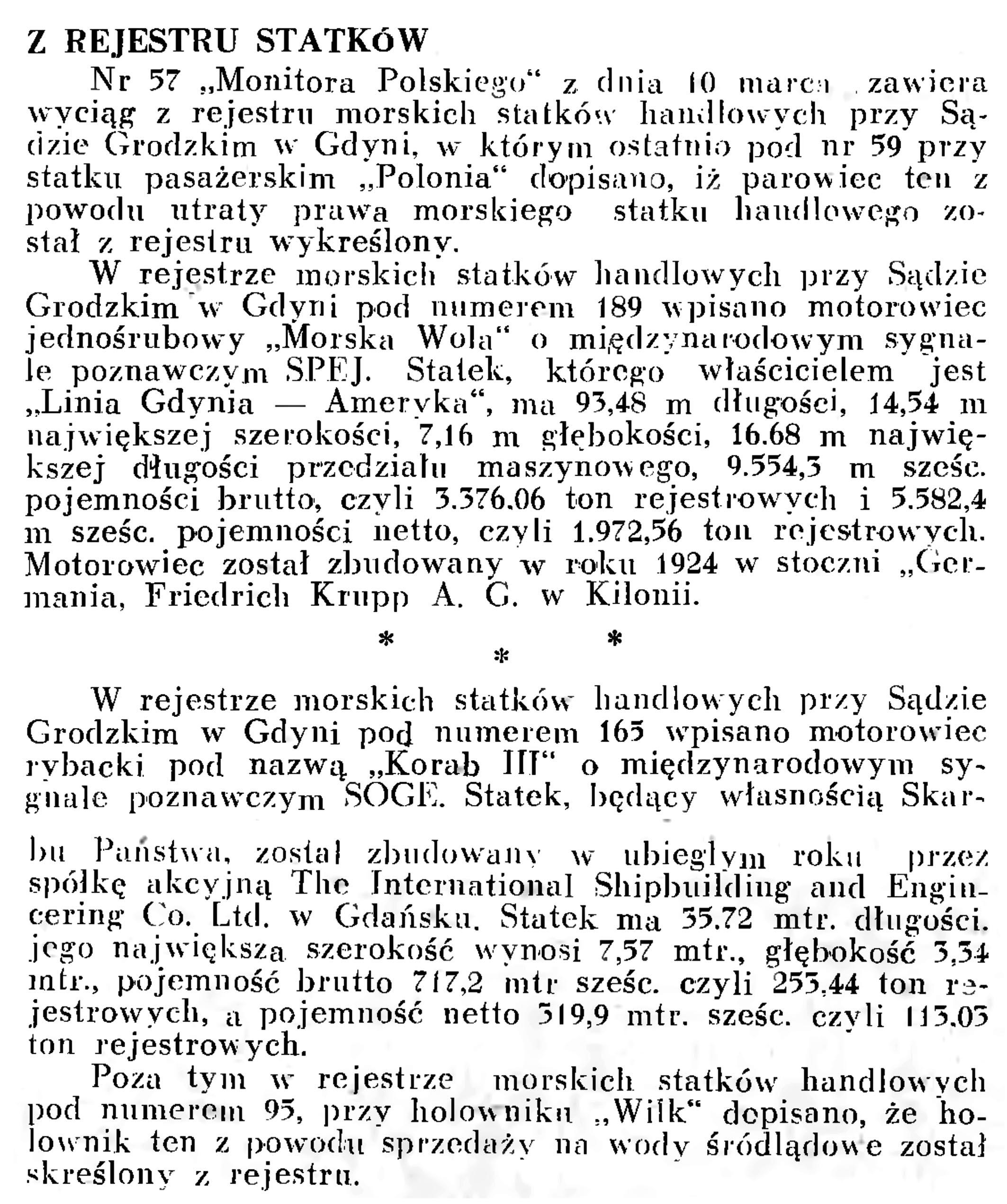 Z rejestru statków // Wiadomości Portowe. - 1939, nr 3, s. 18