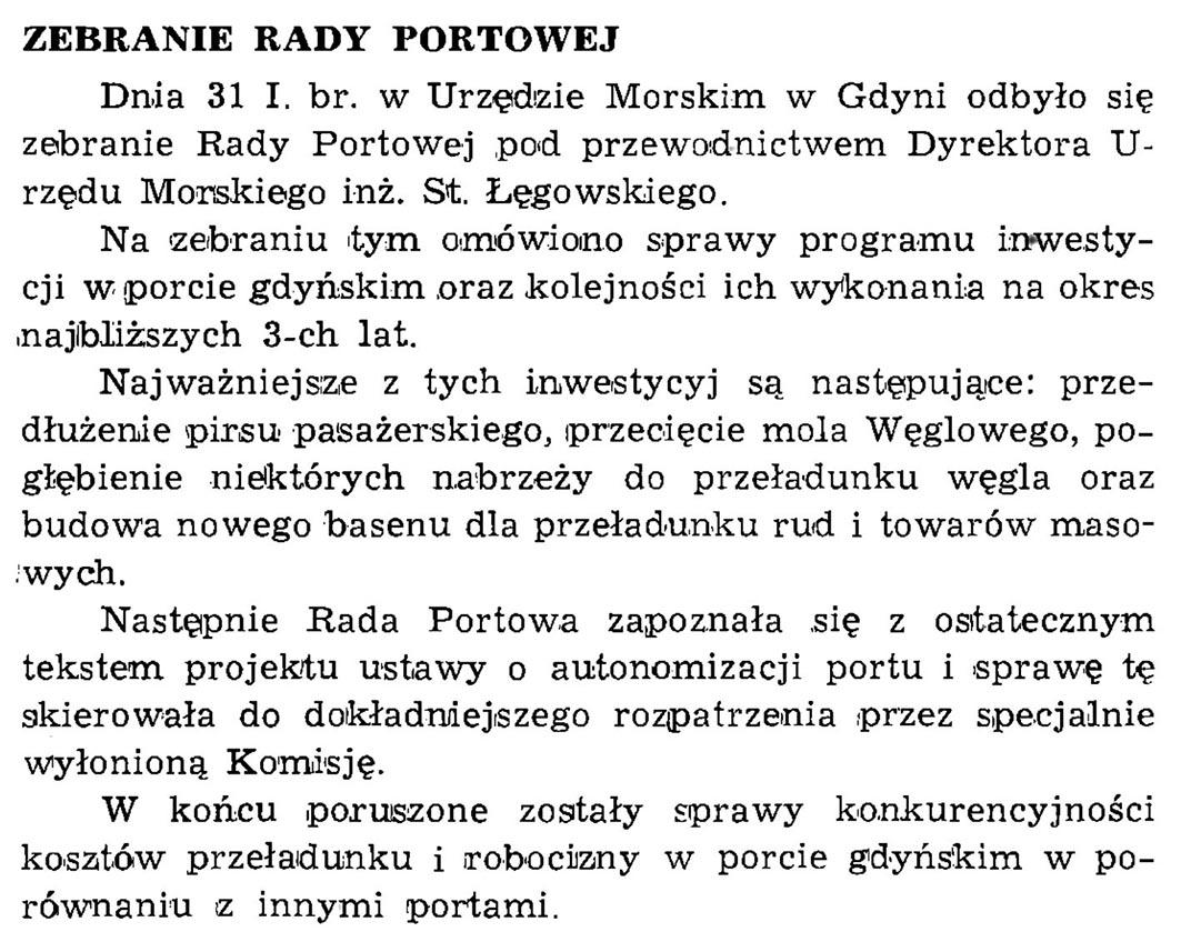 Zebranie Rady Portowej // Wiadomości Portowe. - 1939, z. 1/2, s. 19