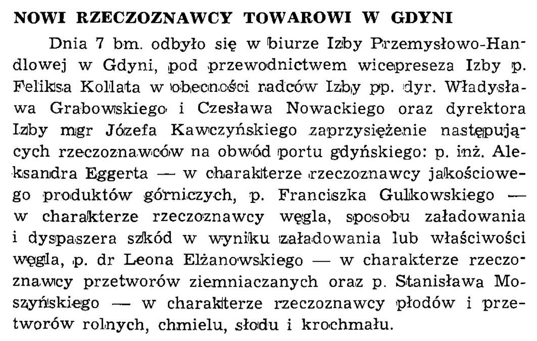Nowi rzeczoznawcy towarowi w Gdyni // Wiadomości Portowe. - 1939, nr 1/2, s. 19