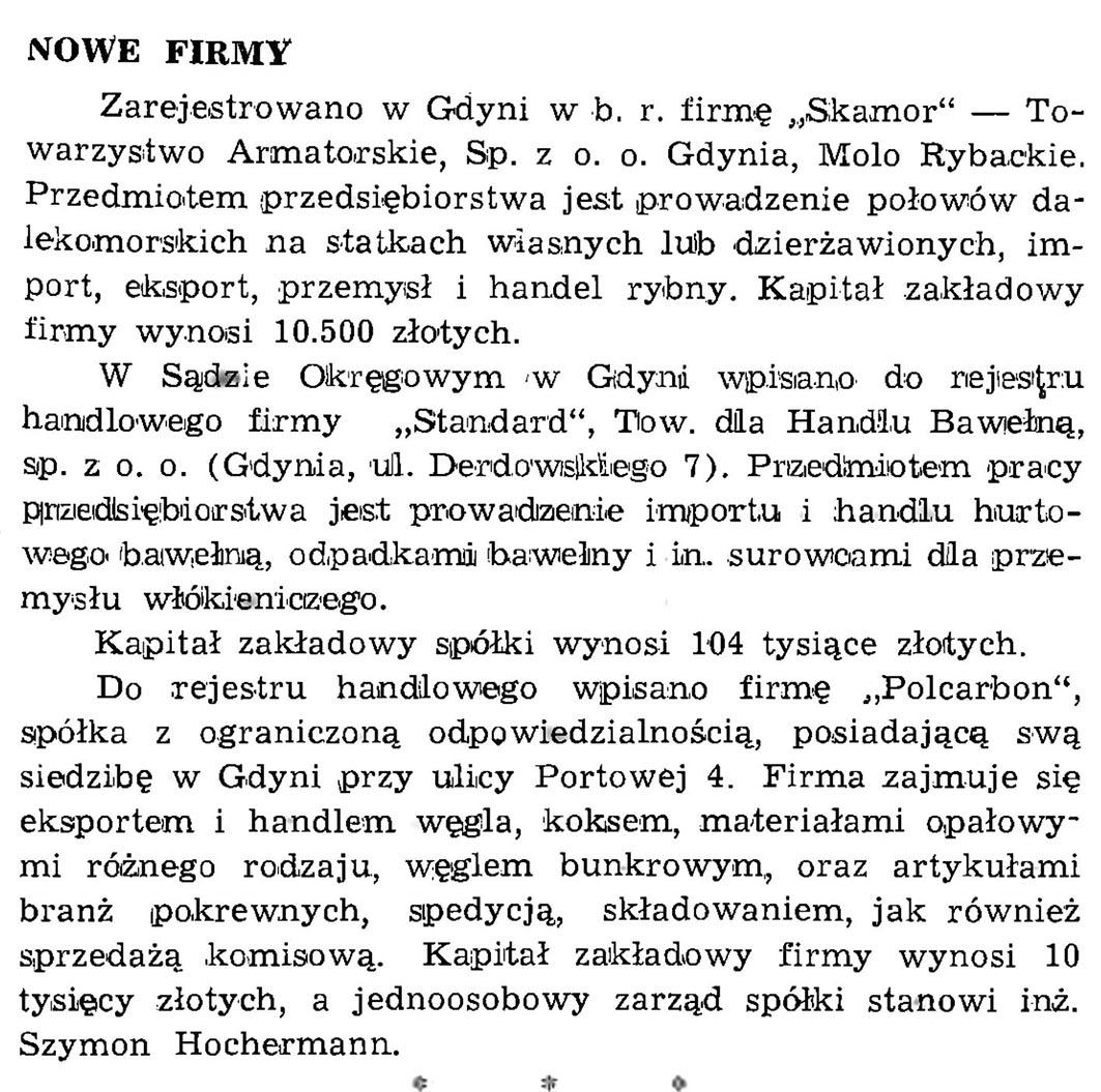 Nowe firmy // Wiadomości Portowe. - 1939, nr 1/2, s. 21