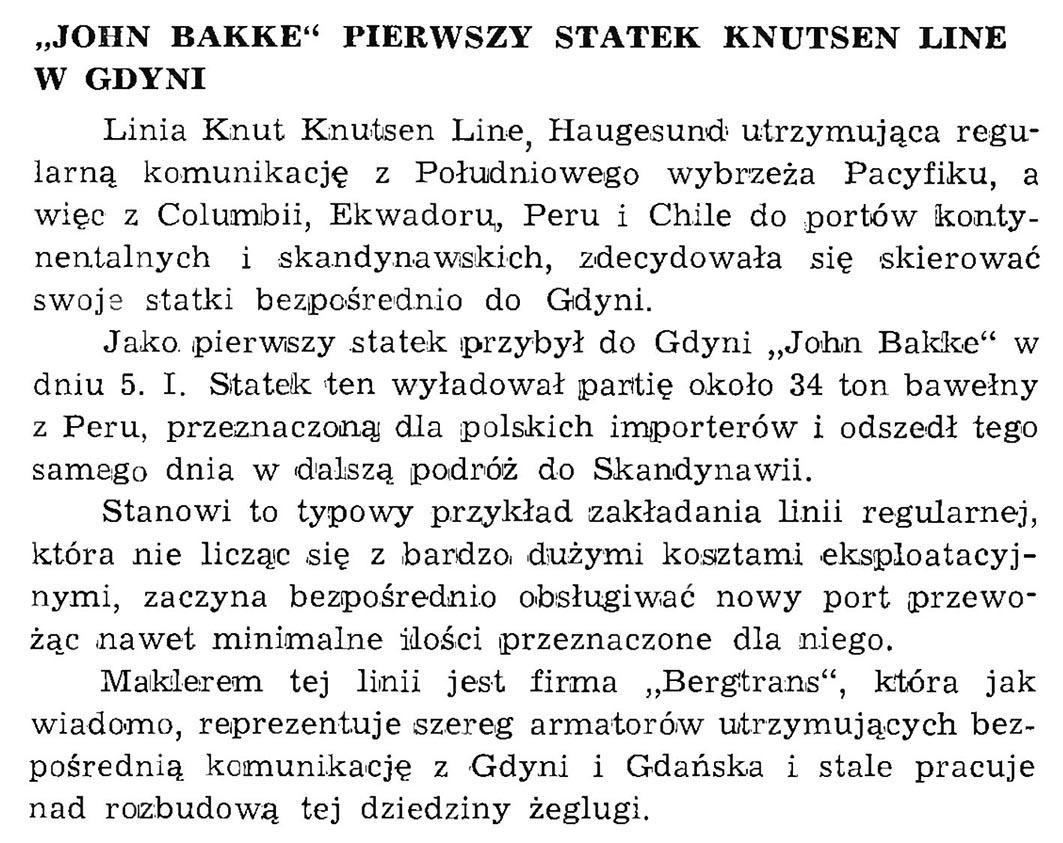 """""""John Bakke"""" pierwszy statek Knutsen Line w Gdyni // Wiadomości Portowe. - 1939, nr 1/2, s. 21"""