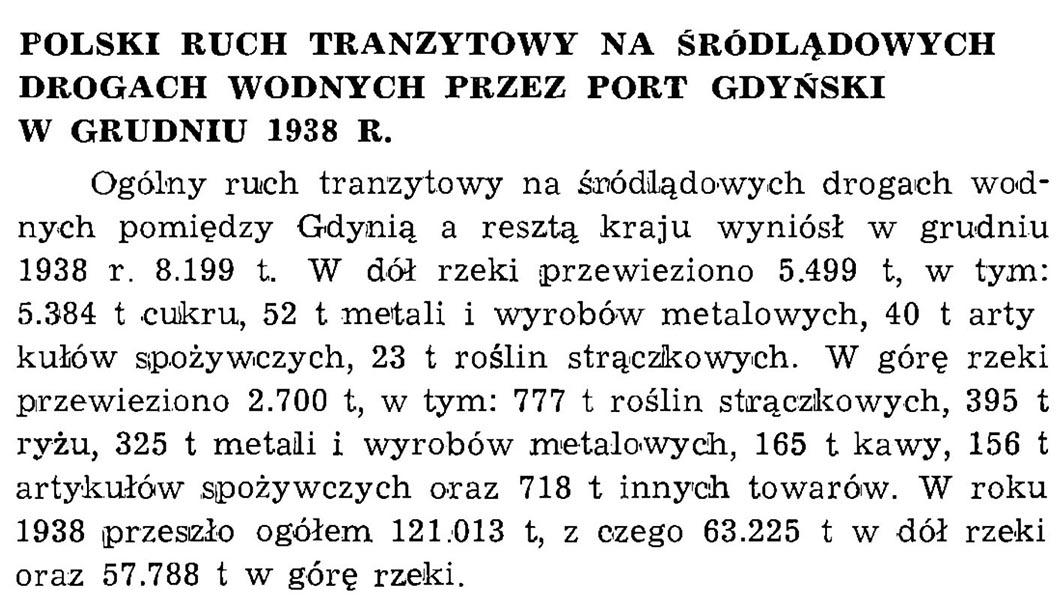 Polski ruch tranzytowy na śródlądowych drogach wodnych przez port gdyński w grudniu 1938 r. // Wiadomości Portowe. - 1939, nr 1/2, s. 21