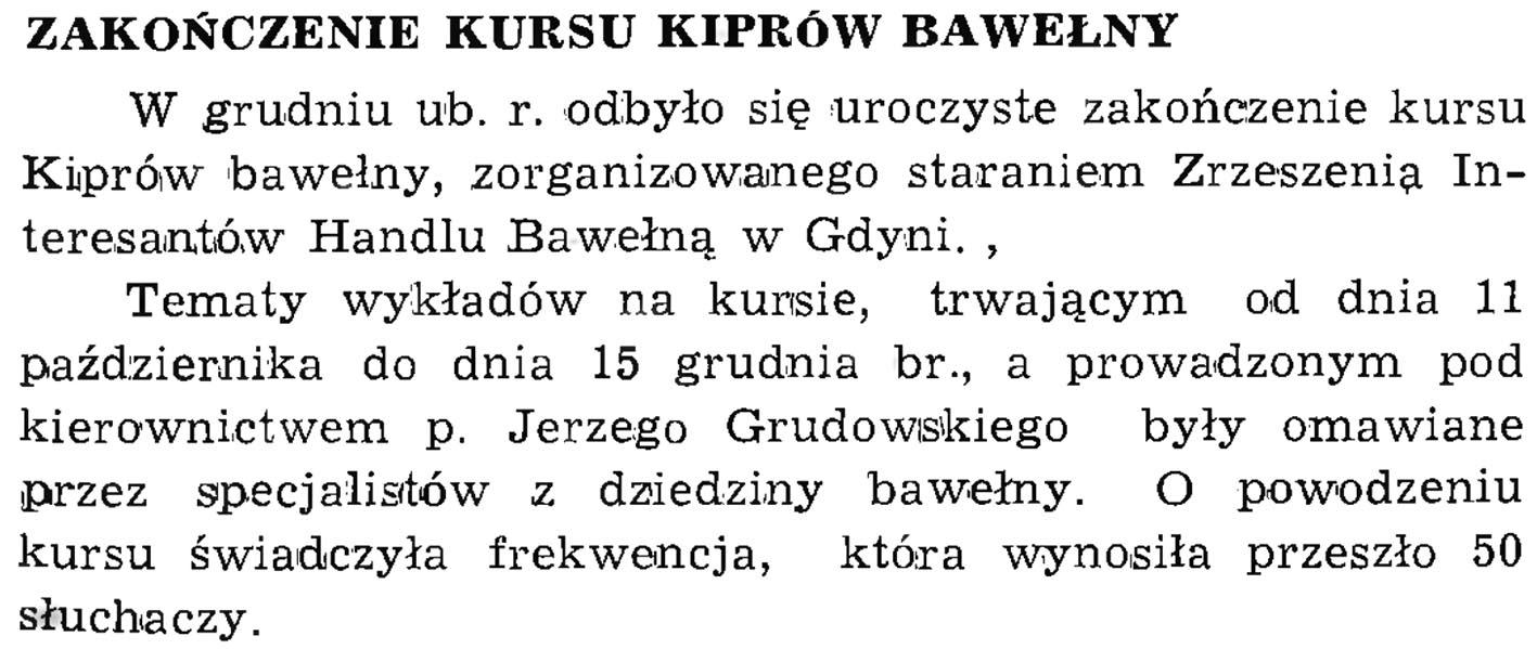 Zakończenie kursu kiprów bawełny // Wiadomości Portowe. - 1939, nr 1/2, s. 21