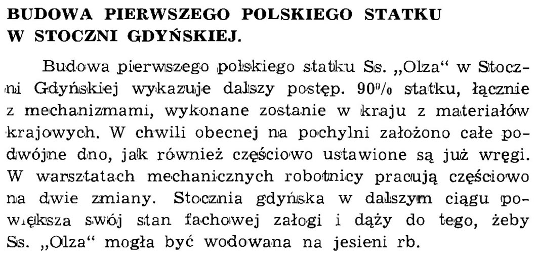 Budowa pierwszego polskiego statku w Stoczni Gdyńskiej // Wiadomości Portowe. - 1939, nr 1/2, s. 22