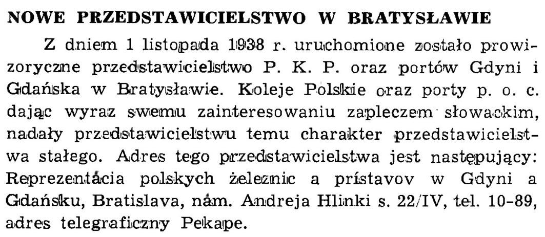 Nowe przedstawicielstwo w Bratysławie // Wiadomości Portowe. - 1939, nr 1/2, s. 23