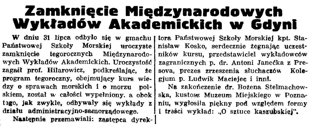 Zamknięcie Międzynarodowych Wykładów Akademickich w Gdyni // Gazeta Gdańska. - 1936, nr 175, s. 5