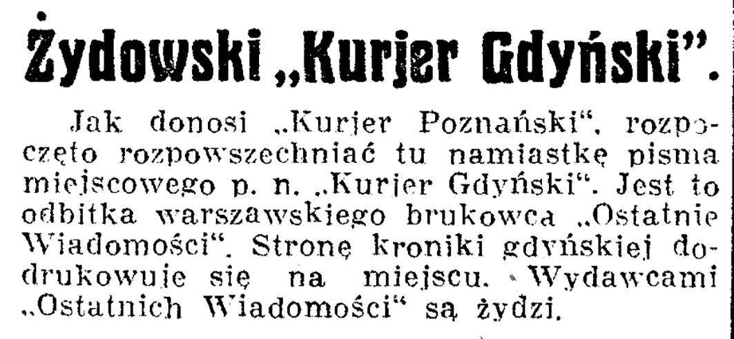 """Żydowski """"Kurjer Gdyński"""" // Dziennik Pomorski. - 1936, nr 148, s. 7"""