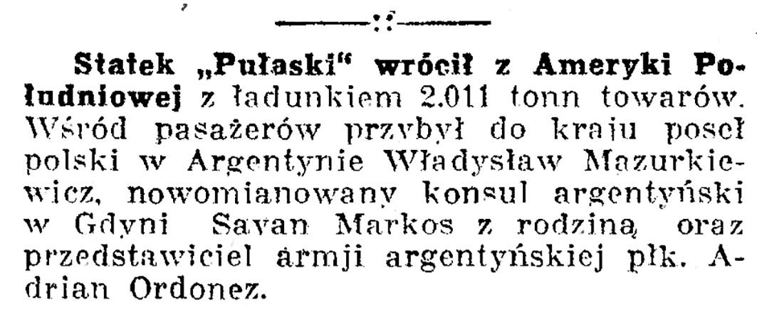 """Statek """"Pułaski"""" wrócił z Ameryki Południowej // Dziennik Bydgoski. - 1936, nr 148, s. 7"""