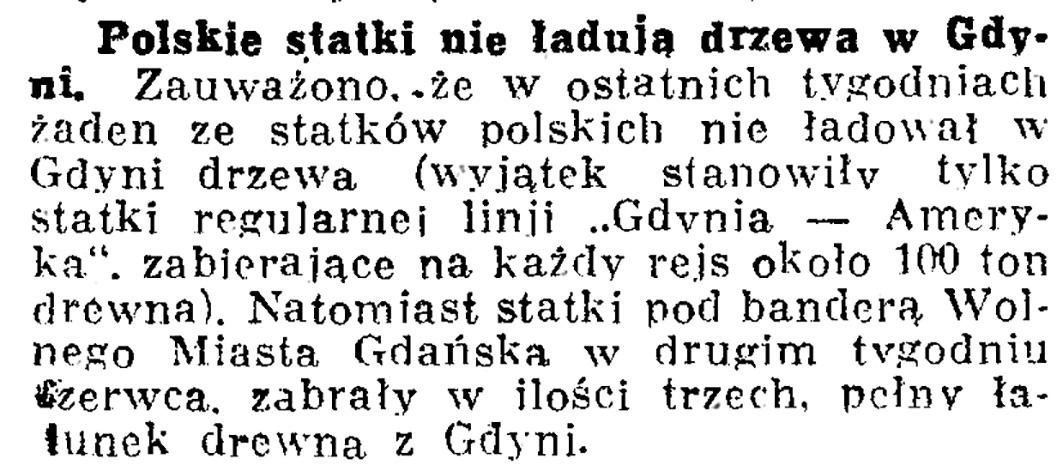 Polskie statki nie ładują drzewa w Gdyni // Dziennik Bydgoski. - 1936, nr 148, s.  7
