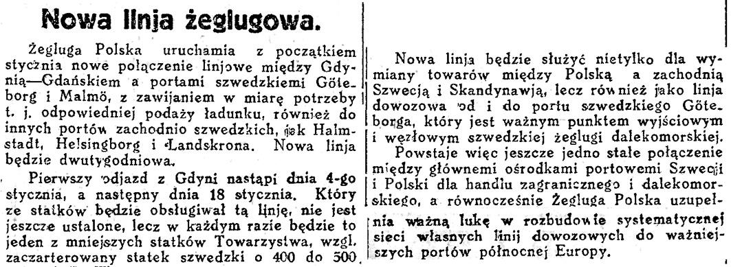 Nowa linja żeglugowa // Dziennik Bydgoski. - 1936, nr 1, s. 18
