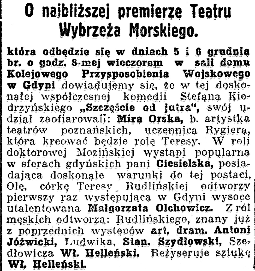 O najbliższej premierze Teatru Wybrzeża Morskiego // Dziennik Bydgoski. - 1936, nr 280, s. 4
