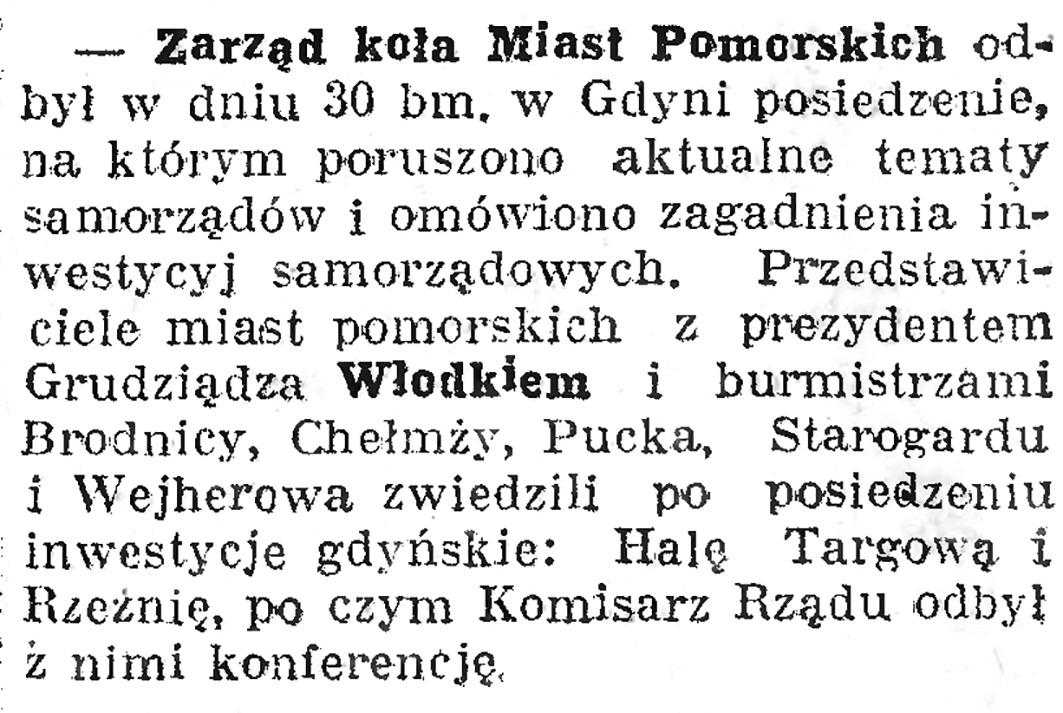 Zarząd koła Miast Pomorskich // Dziennik Bydgoski. - 1938, nr 1, s. 16