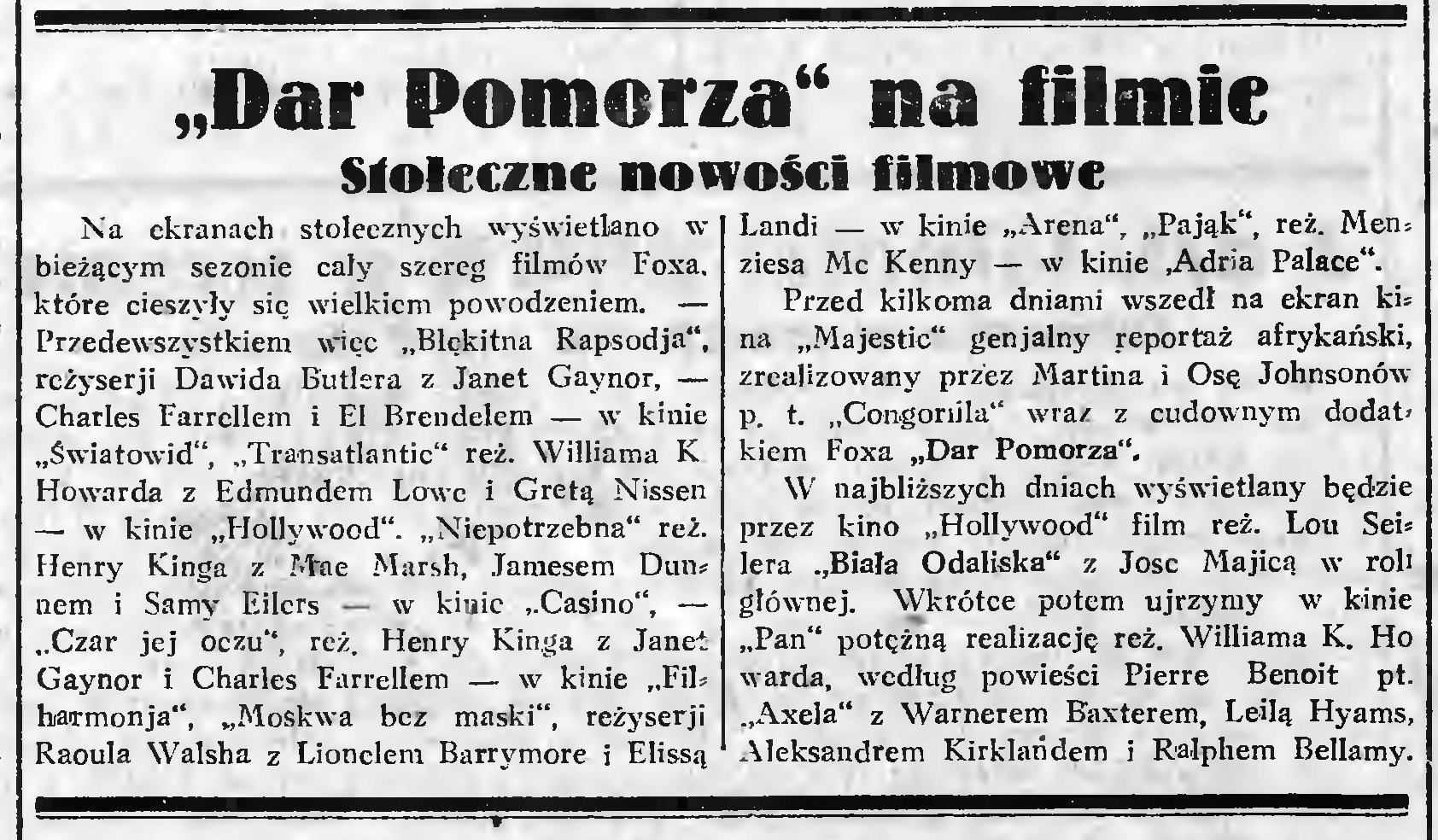 """""""Dar Pomorza"""" na filmie. Stołeczne nowości filmowe // Gazeta Gdańska. - 1933, nr 4, s. 4"""
