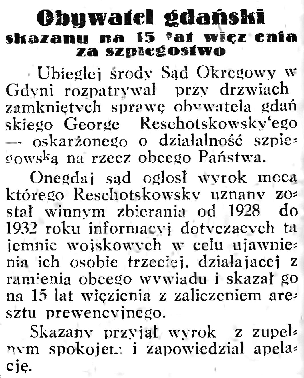 Obywatel gdański skazany na 15 lat więzienia za szpiegostwo // Gazeta Gdańska. - 1933, nr 6, s. 8