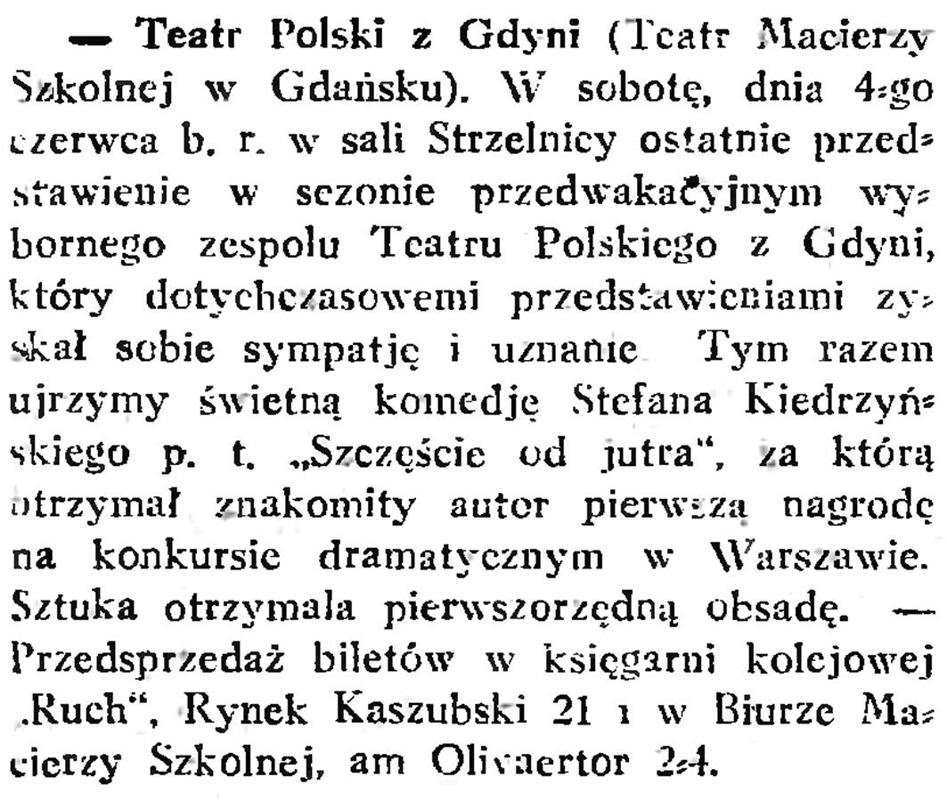 Teatr Polski z Gdyni // Gazeta Gdańska. - 1932, nr 125, s. 7