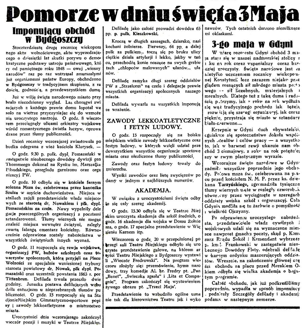 Pomorze w dniu święta 3 Maja // Gazeta Gdańska. - 1933, nr 101, s. 4