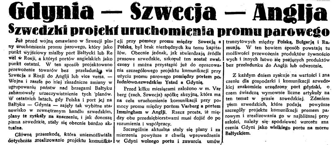 Gdynia - Szwecja - Anglja. Szwedzki projekt uruchomienia promu parowego // Gazeta Gdańska. - 1933, nr 121, s. 3