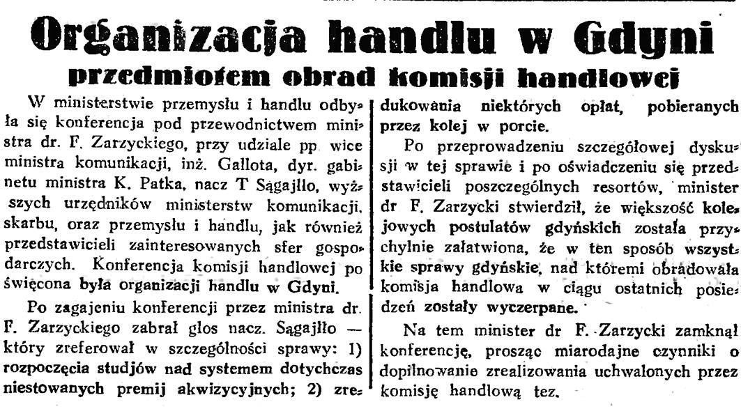 Organizacja handlu w Gdyni przedmiotem obrad komisji handlowej // Gazeta Gdańska. - 1933, nr 121, s. 3