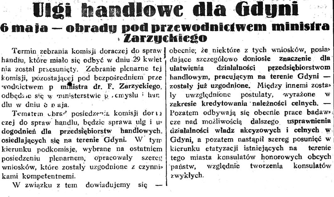 Ulgi handlowe dla Gdyni. 6 maja - obrady pod przewodnictwem ministra Zarzyckiego // Gazeta Gdańska. - 1933, nr 99, s. 3