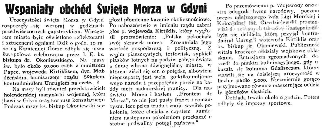 Wspaniały obchód Święta Morza w Gdyni // Gazeta Gdańska. - 1934, nr 144, s. 1