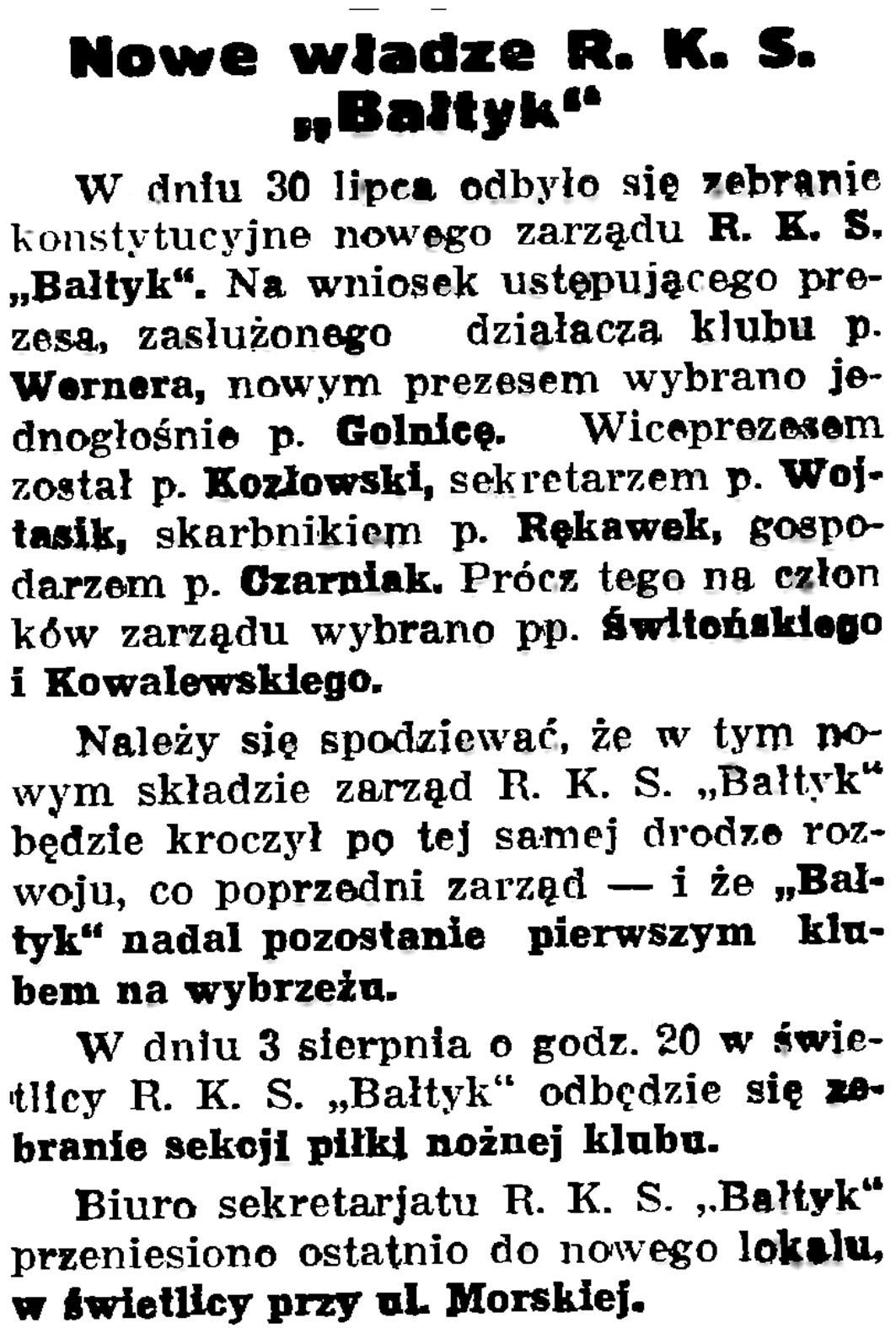 """Nowe władze R. K. S. """"Bałtyk"""" // Gazeta Gdańska. - 1936, nr 175, s. 5"""