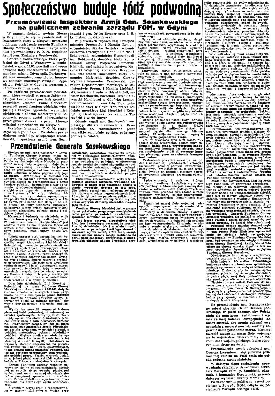 Społeczeństwo buduje łódź podwodną. Przemówienie Inspektora Armji Gen. Sosnowskiego na publicznem zebraniu zarządu FOM. w Gdyni // Gazeta Gdańska. - 1937, nr 148, s. 4
