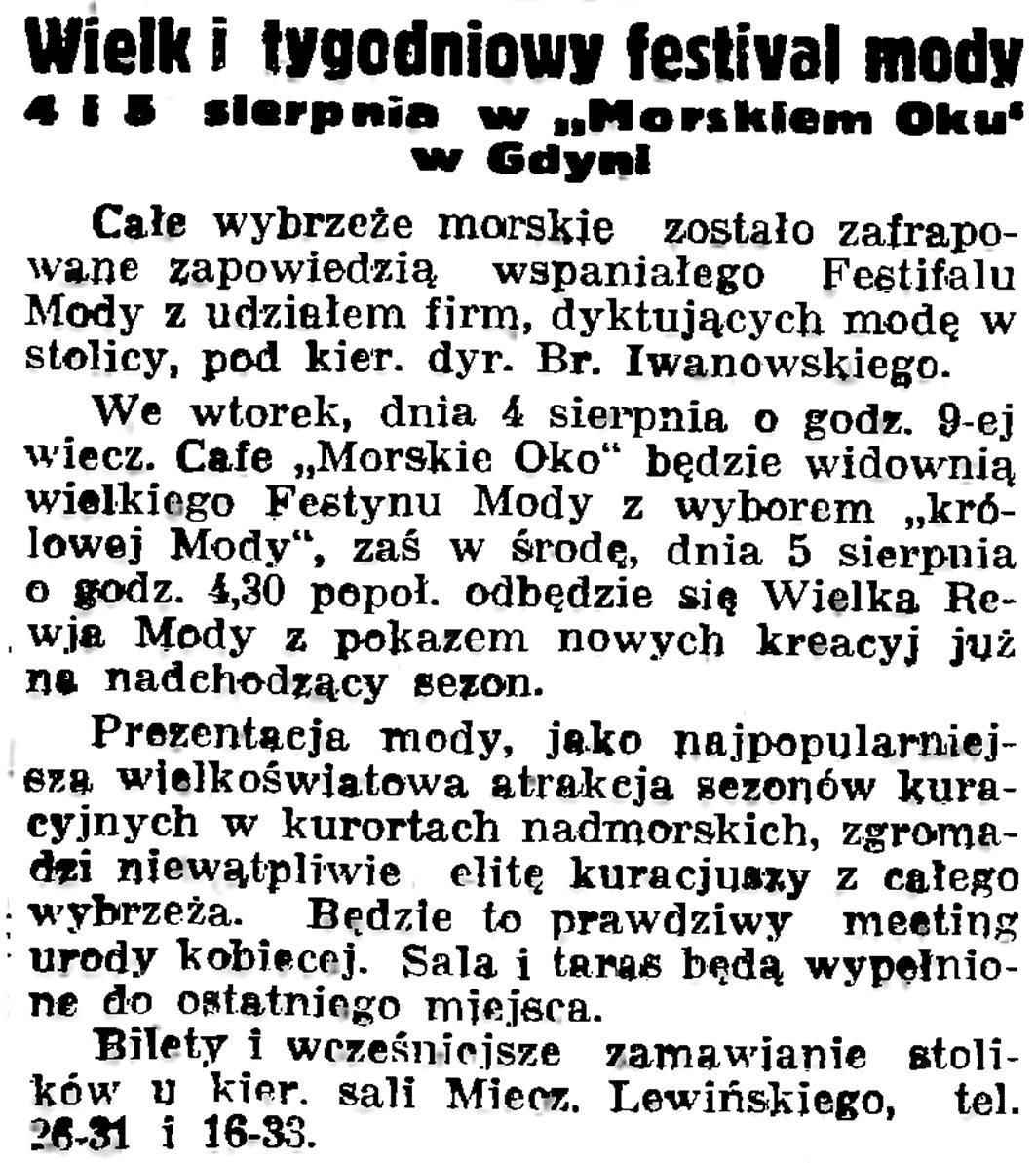 """Wielki tygodniowy festival mody 4 i 5 sierpnia w """"Morskim Oku"""" w Gdyni // Gazeta Gdańska. - 1936, nr 175, s. 5"""