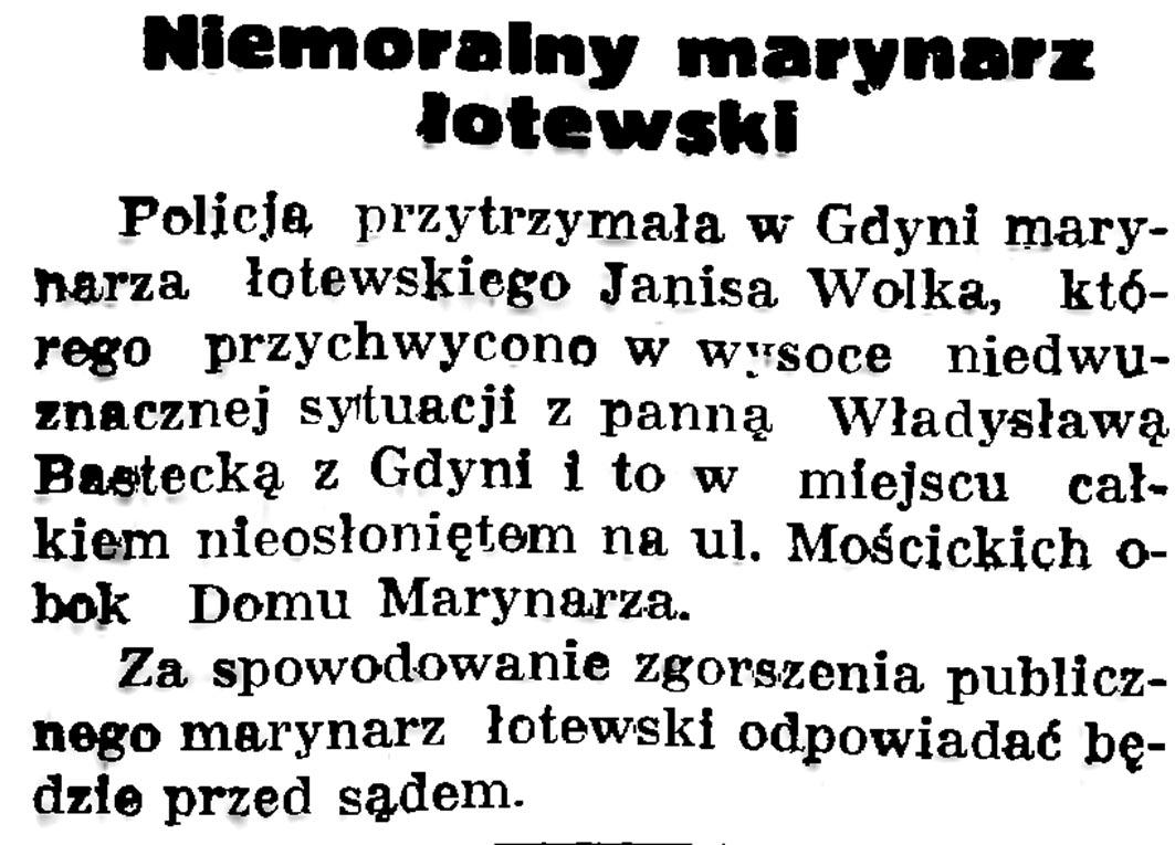 Niemoralny marynarz łotewski // Gazeta Gdańska. - 1936, nr 175, s. 5