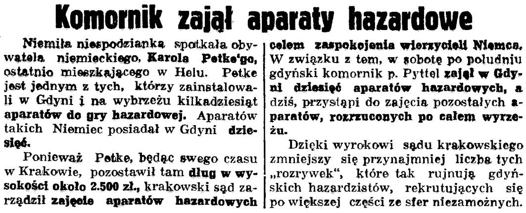 Komornik zajął aparaty hazardowe // Gazeta Gdańska. - 1936, nr 175, s. 5