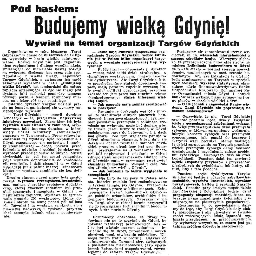 Pod hasłem: Budujemy wielką Gdynię! Wywiad na temat organizacji Targów Gdyńskich // Gazeta Gdańska. - 1936, nr 77, s. 10