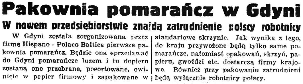 Pakownia pomarańcz w Gdyni. W nowem przedsiębiorstwie znajdą zatrudnienie polscy robotnicy // Gazeta Gdańska. - 1936, nr 77, s. 4