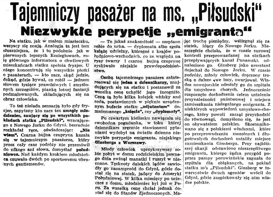 """Tajemniczy pasażer na ms. """"Piłsudski"""". Niezwykłe perypetie """"emigranta"""" // Gazeta Gdańska. - 1936, nr 77, s. 7"""