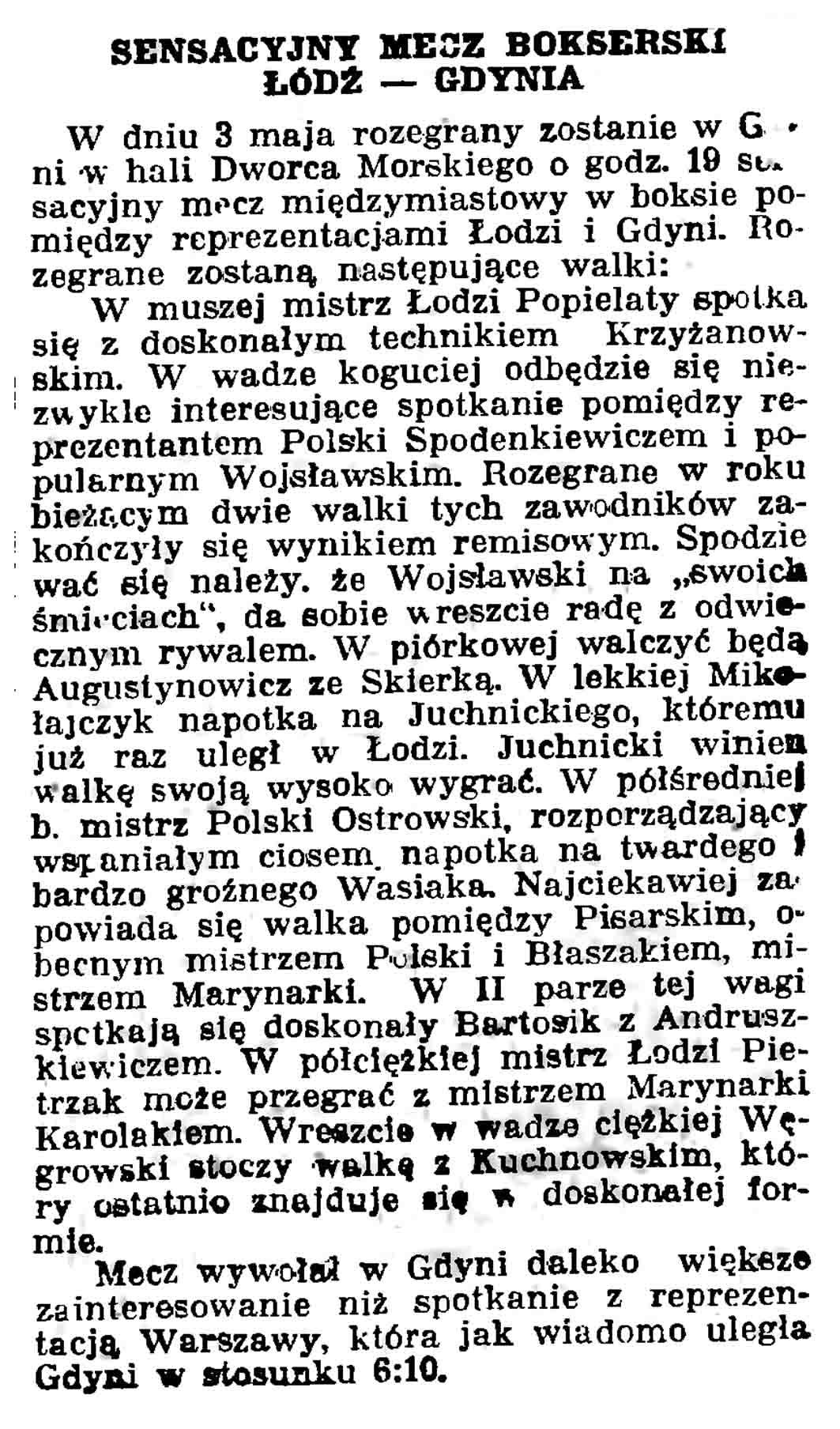 Sensacyjny mecz bokserski Łódź - Gdynia // Gazeta Gdańska. - 1937, nr 100, s. 9