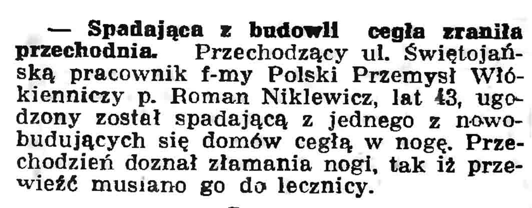 Spadająca z budowli cegła zraniła przechodnia // Gazeta Gdańska. - 1937, nr 104, s. 6