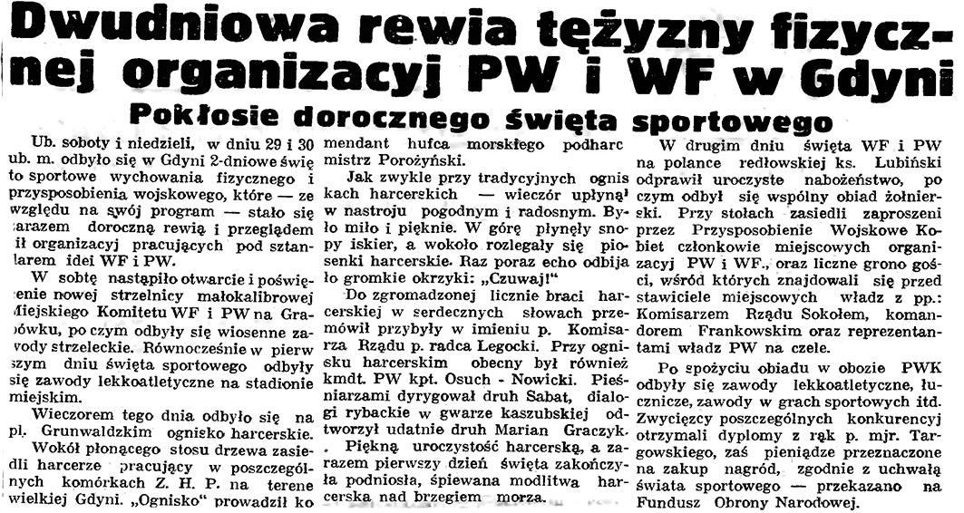 Dwudniowa rewia tężyzny fizycznej organizacji PW i WF w Gdyni. Pokłosie dorocznego święta sportowego // Gazeta Gdańska. - 1937, nr 123, s. 8
