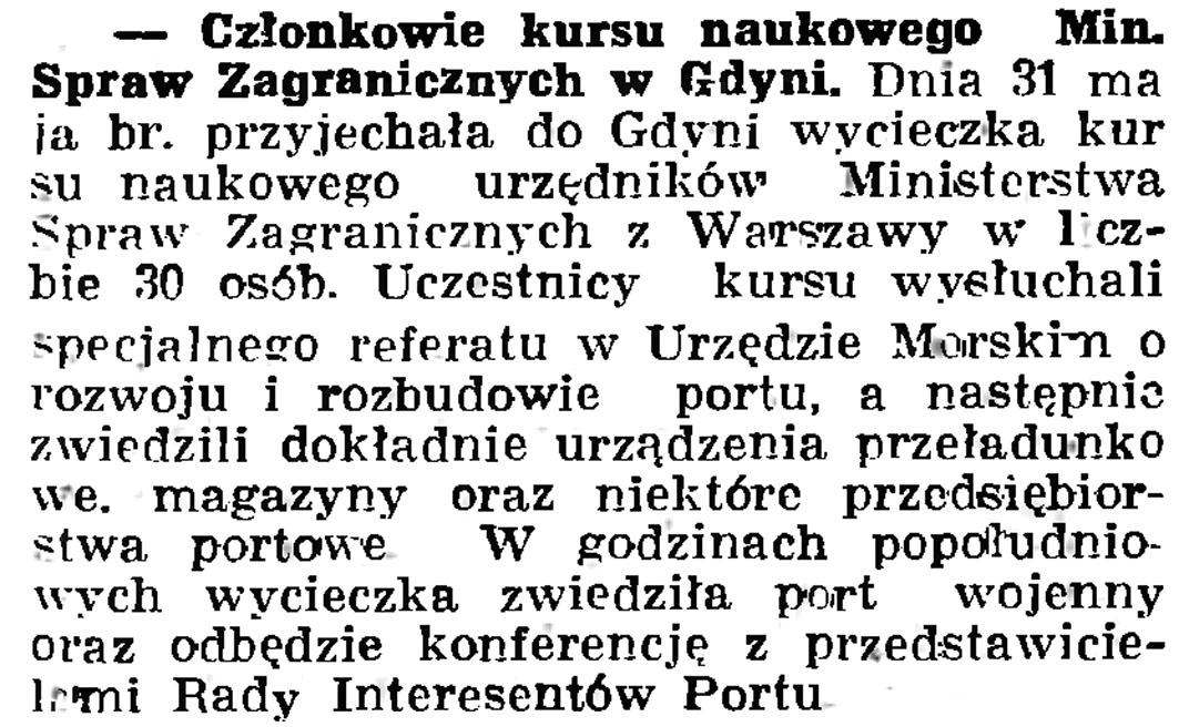 Członkowie kursu naukowego Min. Spraw Zagranicznych w Gdyni // Gazeta Gdańska. -1937, nr 123, s. 8